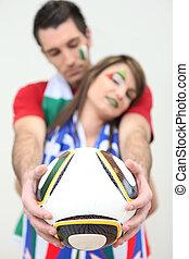 twee, italiaanse , voetbal, aanhang