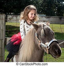 twee jaar oud, paardrijden, een, paarde