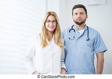 twee, jonge, artsen