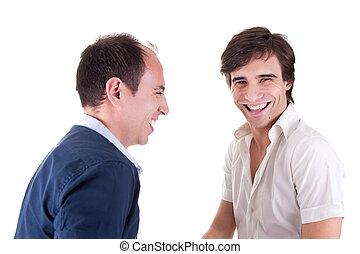 twee, jonge mensen, lachen