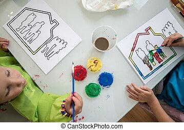 twee kinderen, schilderij, een schets, van, een, gezin, in, een, woning