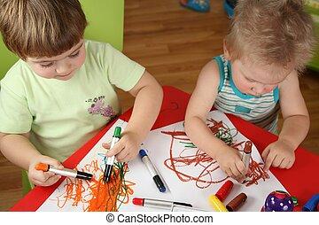 twee kinderen, tekening