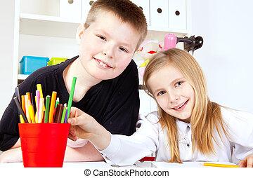 twee, kleine kinderen, in, school