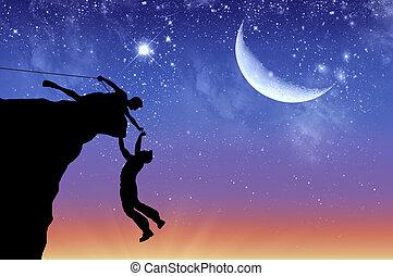twee, klimmers, silhouette