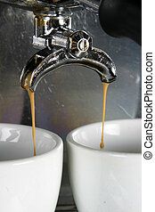 twee, koppen, espresso