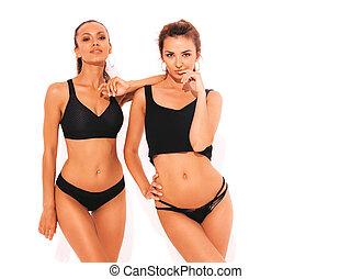 twee, lingerie., hipster, plezier, modellen, het glimlachen, warme, mooi, witte , modieus, meiden, vrijstaand, black , vrouwen, hebben, studio., sexy