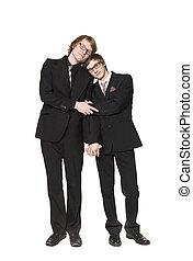 twee mannen, het op elkaar inwerken