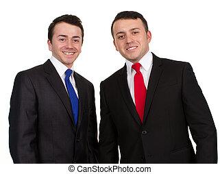 twee mannen, in, kostuums