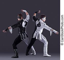 twee mannen, met, carnaval, kostuums, het poseren, in, studio