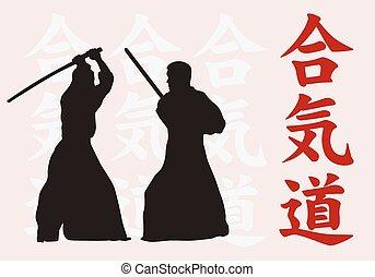 twee mannen, zijn, verloofd, in, aikido.