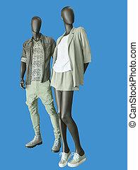 twee, mannequins, man en vrouw, geklede, in, ongedwongen, clothes.