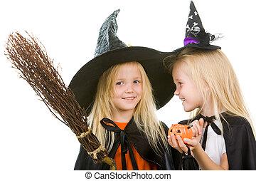 twee, meisje, heksen