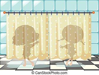 meisjes in douche
