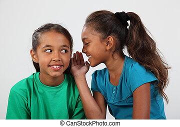twee meisjes, het behouden, een, geheim