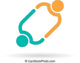 twee mensen, aangesluit, logo