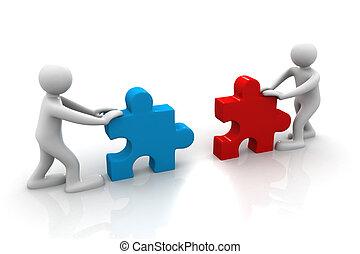 twee mensen, bijeenkomen, trekken, stuk, van, een, raadsel