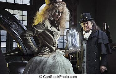twee mensen, in, oud, laboratorium
