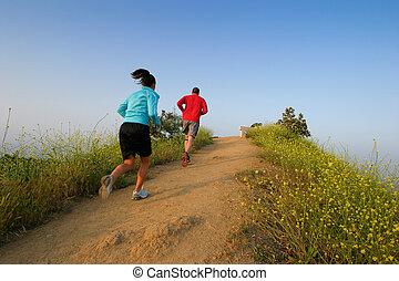 twee mensen, rennende , op, runyon, cañon, park, hollywood,...