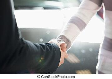 twee mensen, schuddende hand