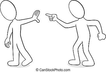 twee mensen, zijn, van, anders, mening