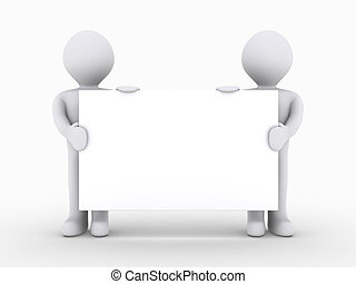 twee mensen, zijn, vasthouden, leeg teken, laag