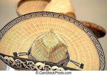 twee, mexicaanse , charros, horsemen's, hoedjes, of, sombreros, dichtbij, san antonio, texas, ons