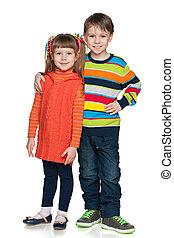 twee, mode, het glimlachen, kinderen
