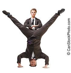 twee, mooi, acrobats, het poseren, in, officieel, kostuums