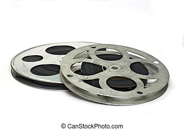 twee, movie film, spoosl;, vrijstaand, op wit, grond