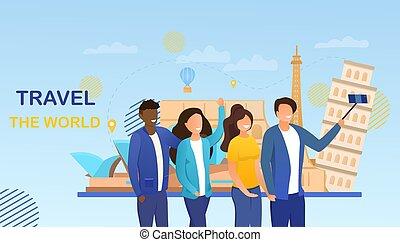 twee, multiethnic, concept, het reizen, stellen