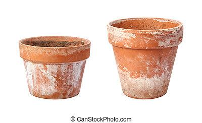 twee, oud, flowerpots, vrijstaand, op wit