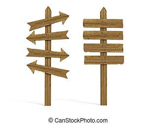 twee, oud, houten, signeer paal