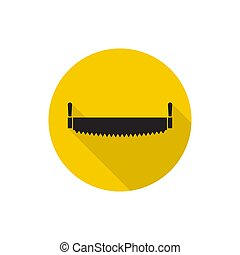 twee-overhandigd, icon., zaag