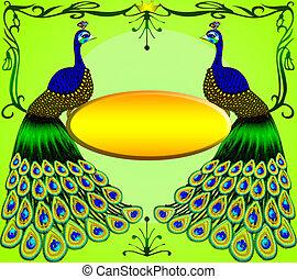 twee, peacocks, met, boodschap