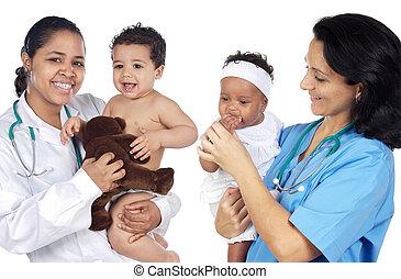 twee, pediatricians, met, mooi, baby's