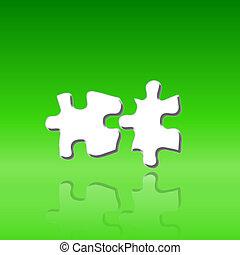 twee, puzzelstukjes