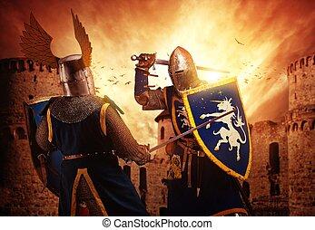 twee, ridders, vecht, agaist, middeleeuws, castle.