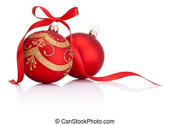 twee, rood, kerstversiering, gelul, met, lint, boog, vrijstaand, op wit, achtergrond