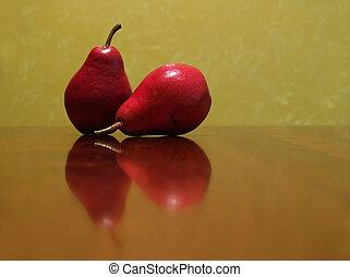 twee, rood, peren