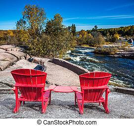 twee, rood, stoelen, strand