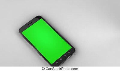 twee, smart, telefoons, vrijstaand, met, groene, chroma