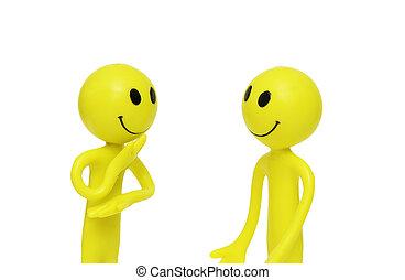 twee, smilies, verloofd, in, de, zakelijk, discussie