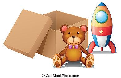 twee, speelgoed, naast, een, doosje
