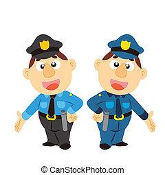 twee, spotprent, kleuren, gekke , politieagent