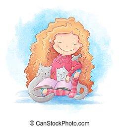 twee, spotprent, mouse., het boek van de lezing, meisje, illustratie, schattig, vector, poezen