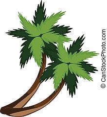 twee, spotprent, palmen