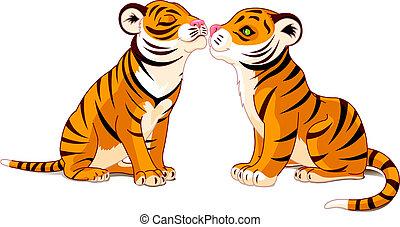 twee, tijgers, verliefd