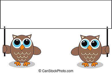 twee, uilen, met, een, plakkaat