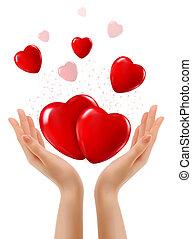 twee, vector, hearts., achtergrond, handen, vakantie, rood