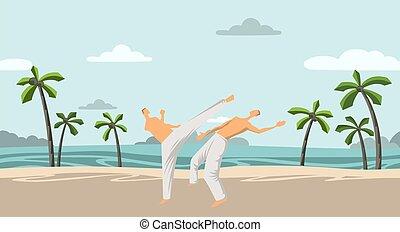 twee, vector, illustration., mannen, strand, capoeira, karate, of, beoefenen, onder, cocosnoot, plat, bomen.